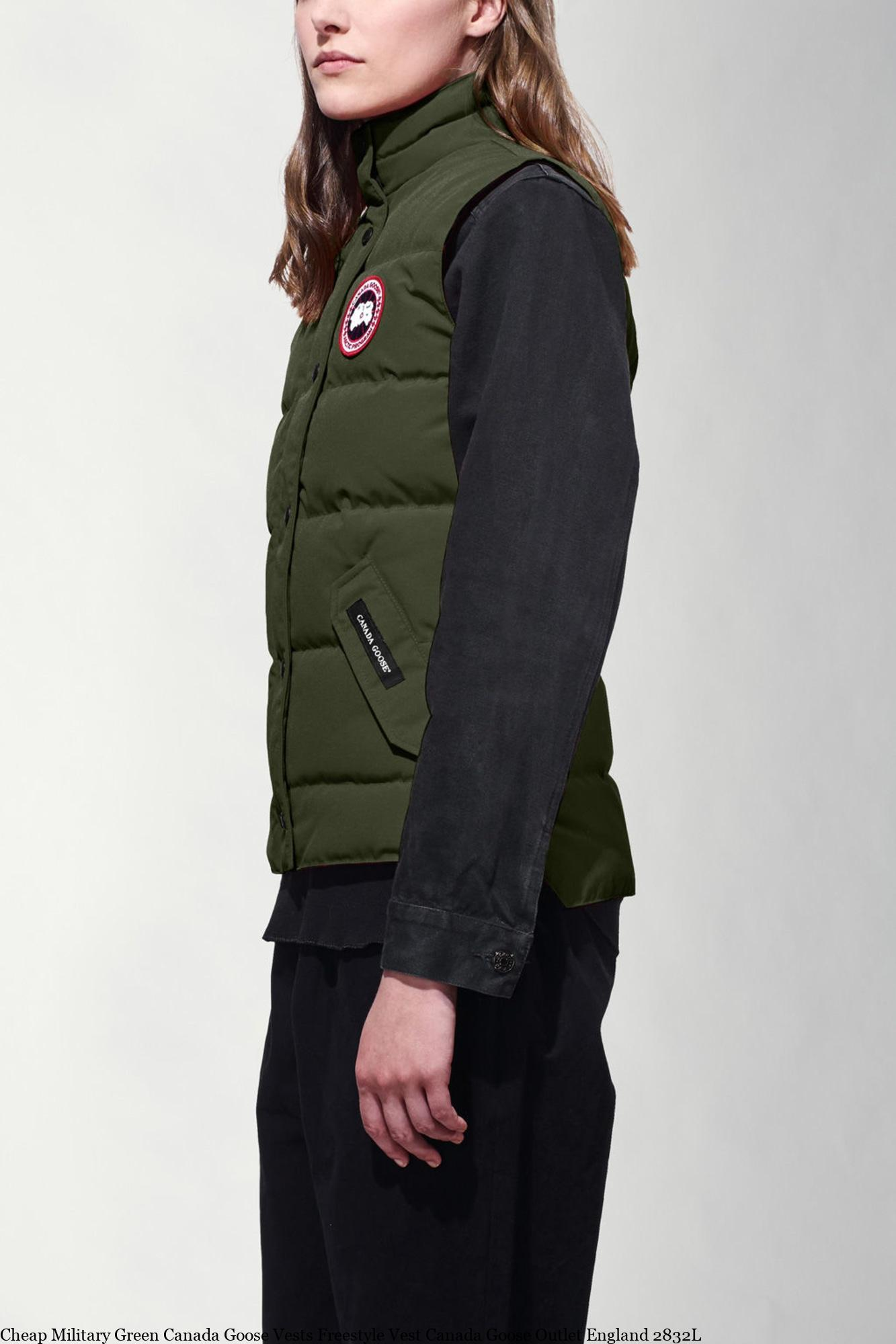 the latest 458e4 d4f53 Cheap Military Green Canada Goose Vests Freestyle Vest Canada Goose Outlet  England 2832L